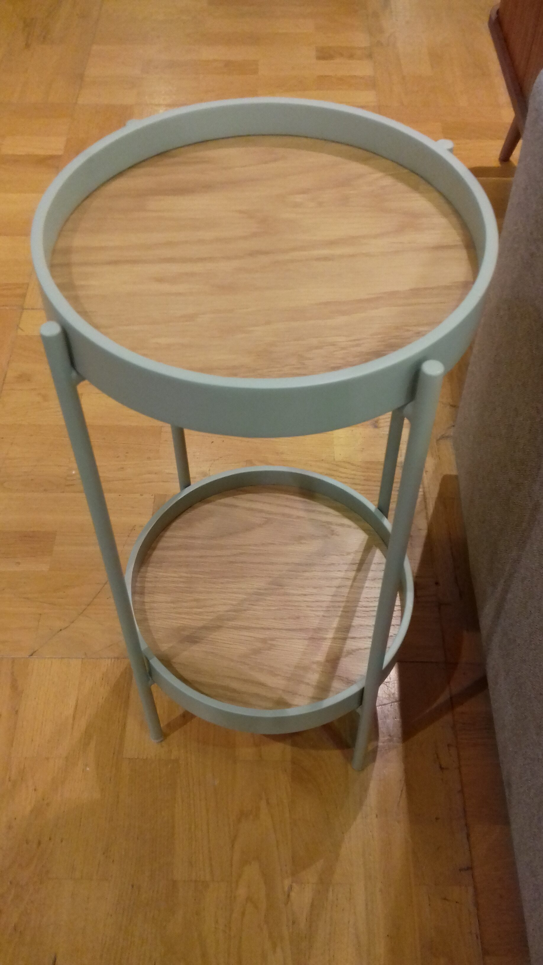 a little green and wood side table