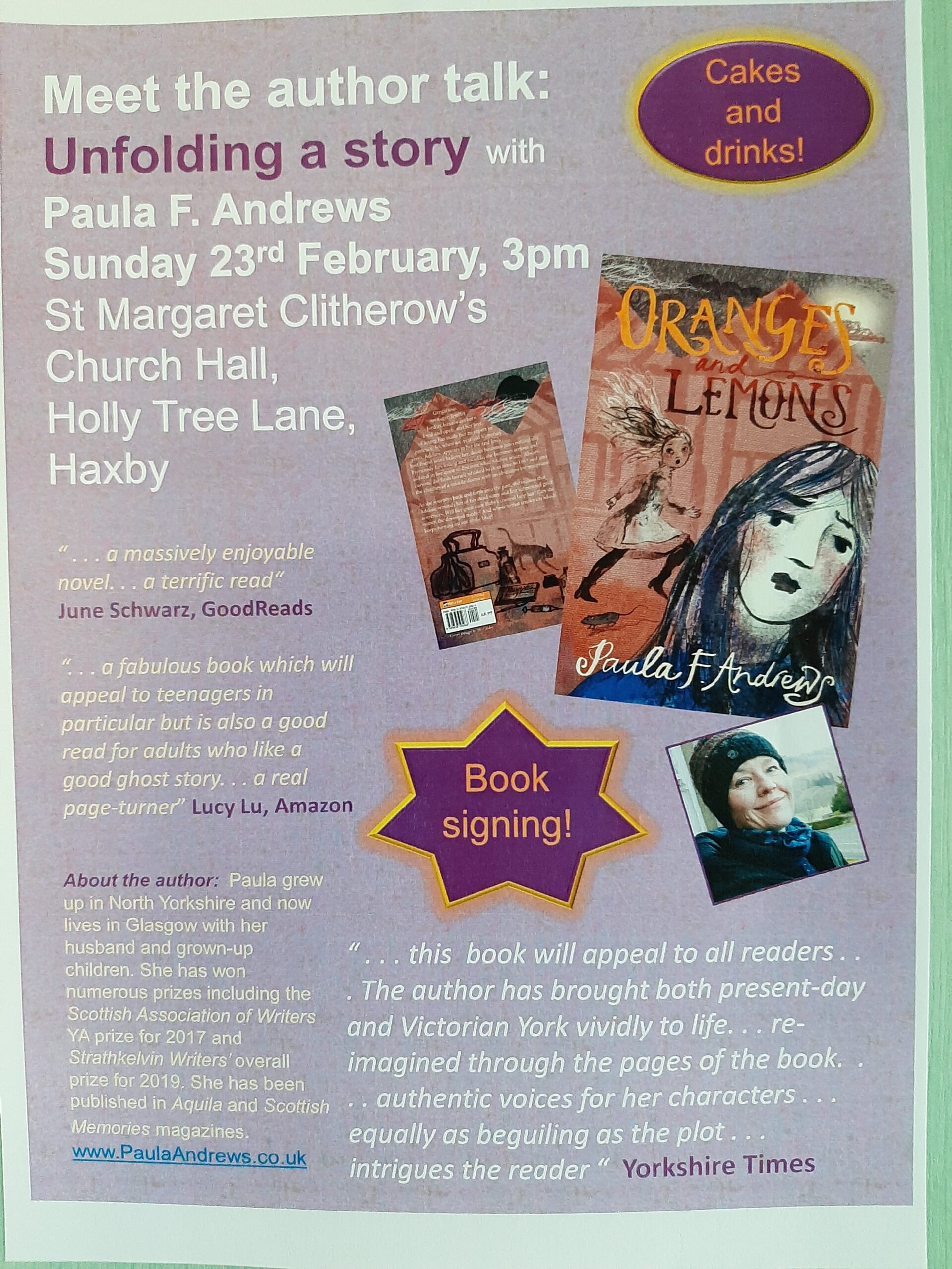 Talk and book signing poster for St Margaret Clitherow, Haxby, York 23 Feb 2020Haxby