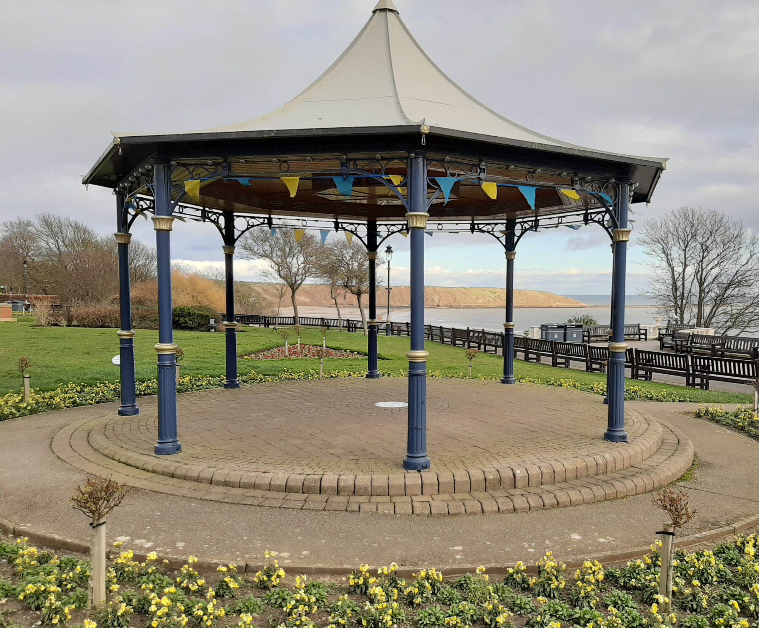 View of Filey coast through bandstand