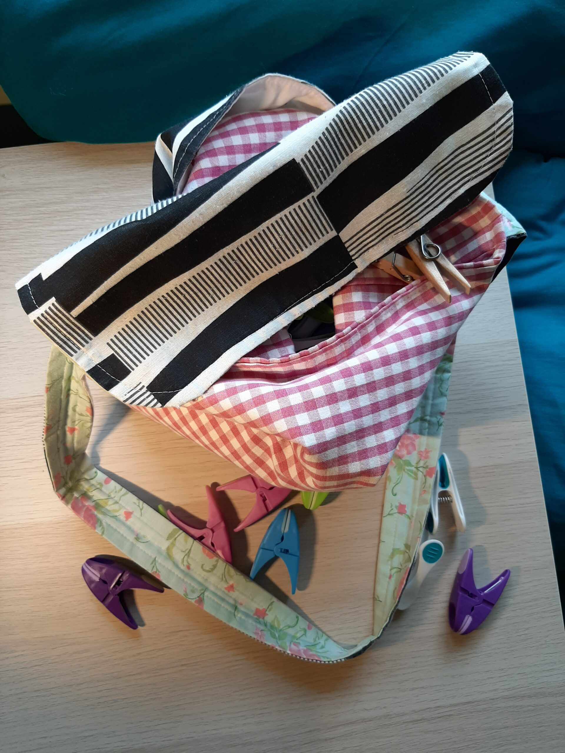 home made peg bag includes red gingham fabric