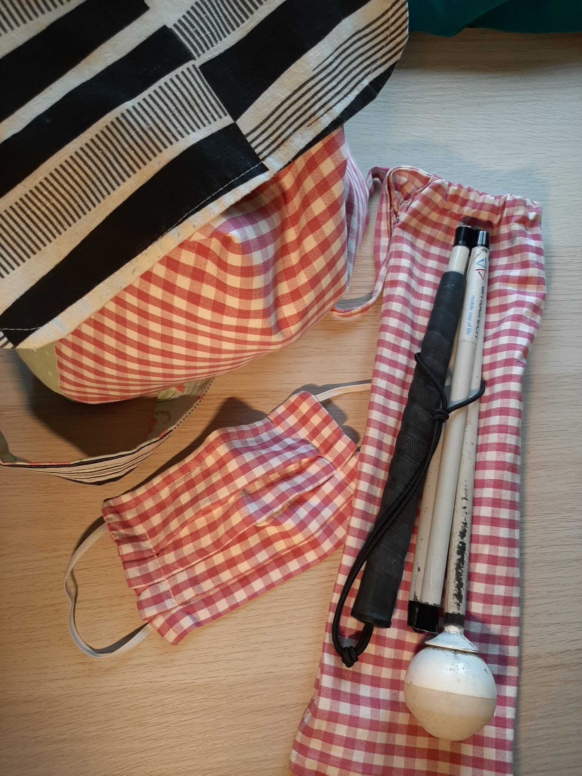 items made from red gingham curtains