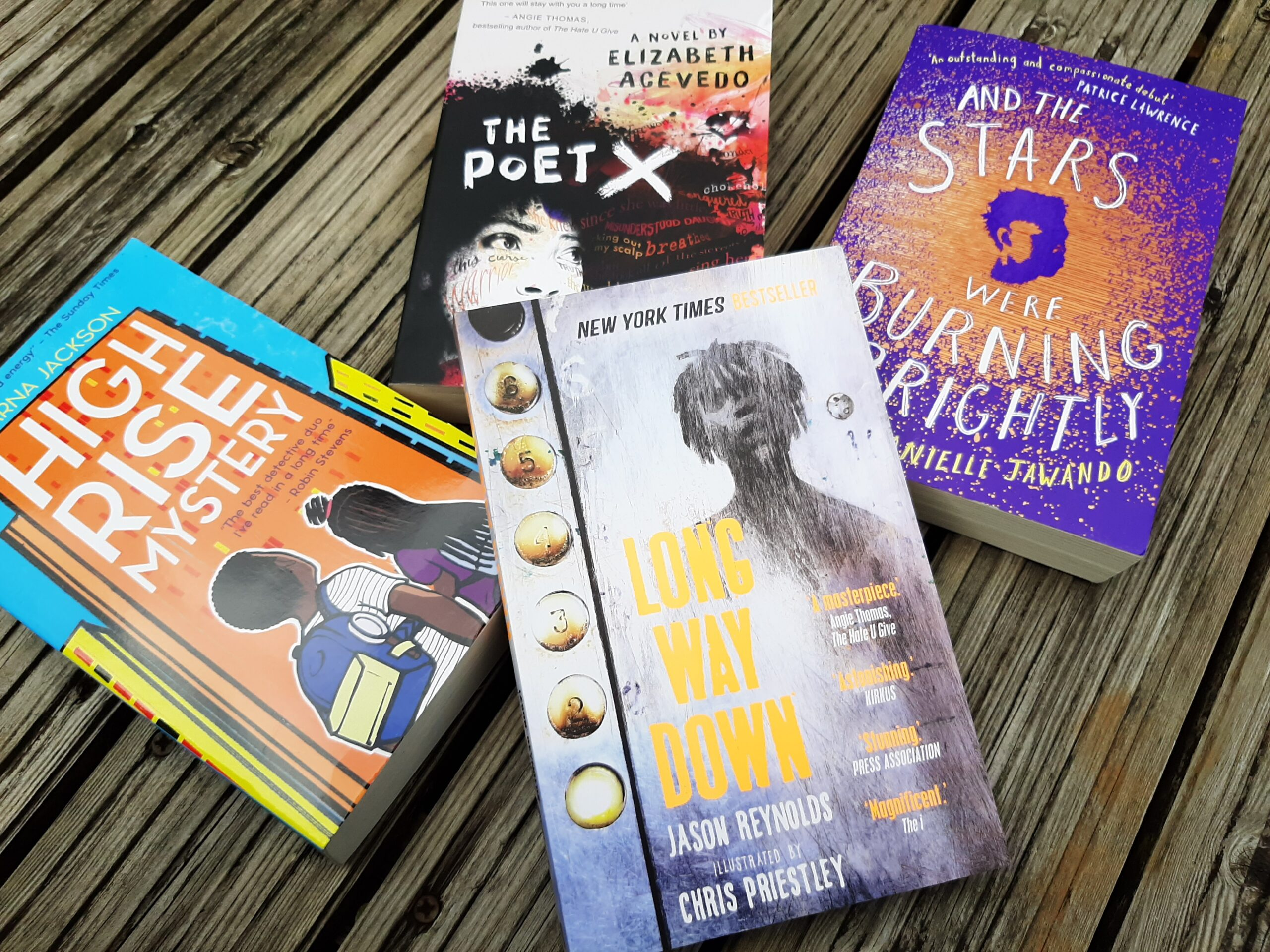 4 children's/YA novels, Long Way Down, And the Stars Were Burning Brightly, The Poet X and High Rise Mystery