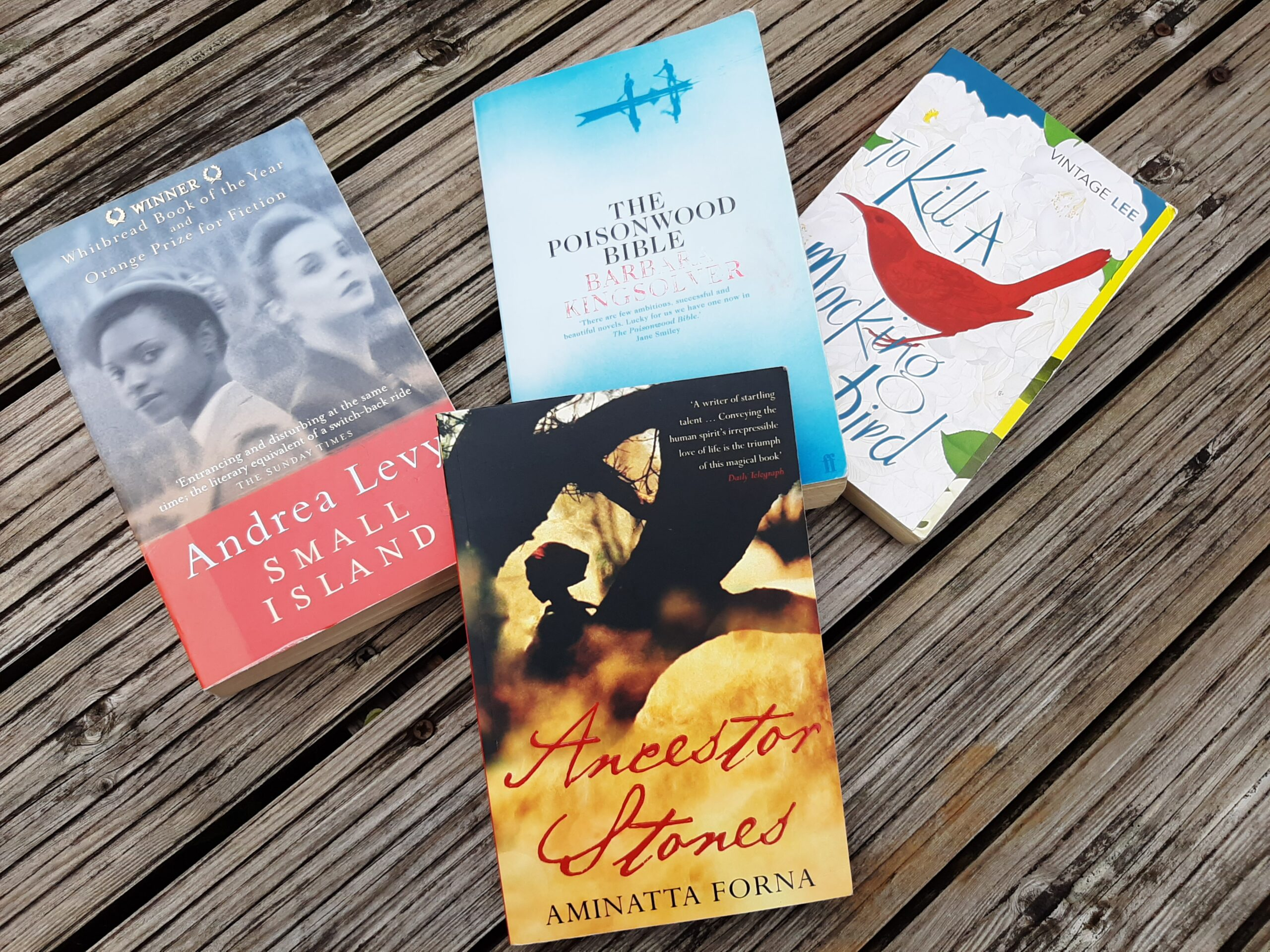 4 novels, Small Island, Ancestor Stones, The Poisonwood Bible and To Kill a Mockingbird