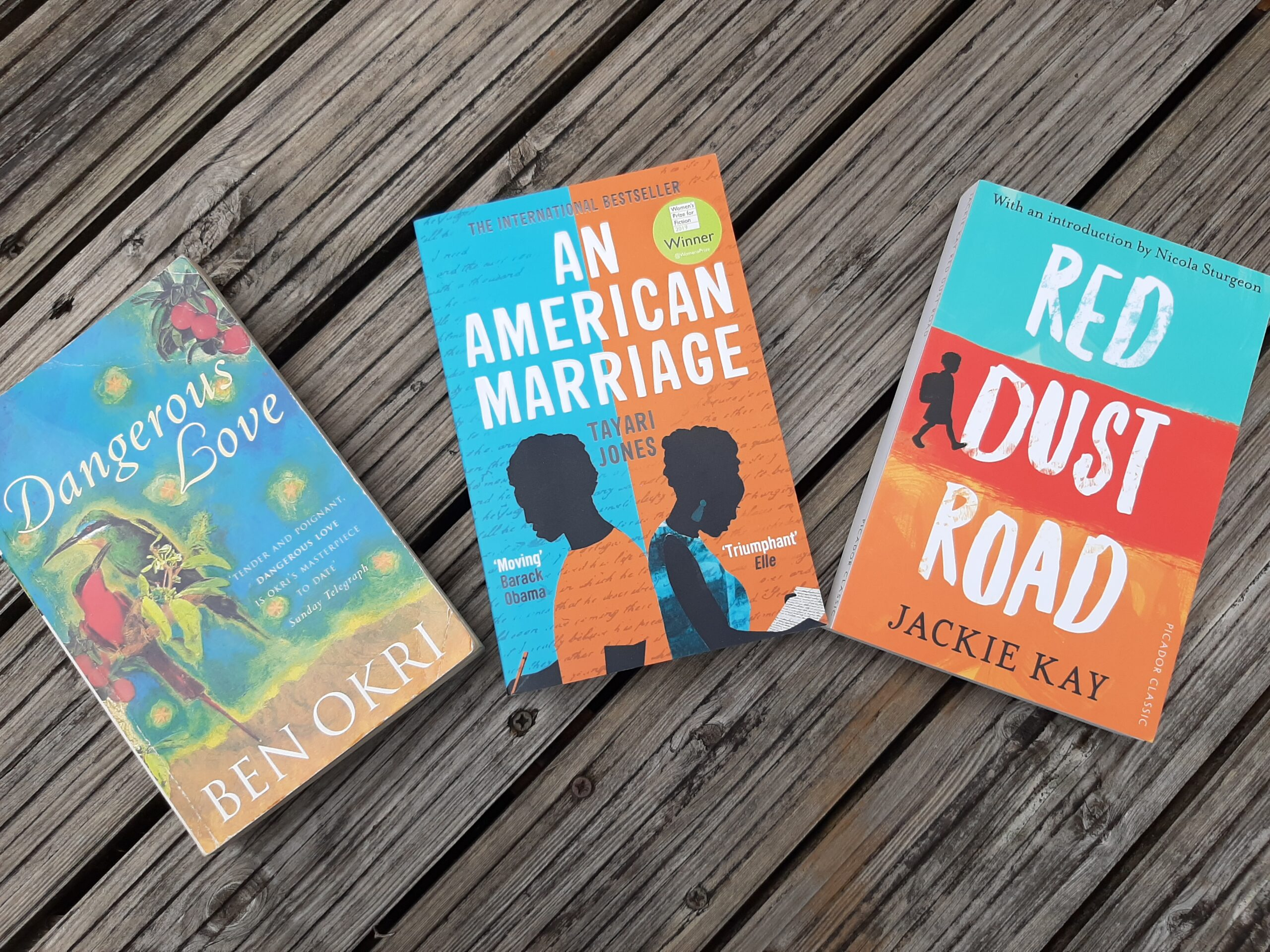 3 novels, Dangerous Love, An American Marriage and Red Dust Road