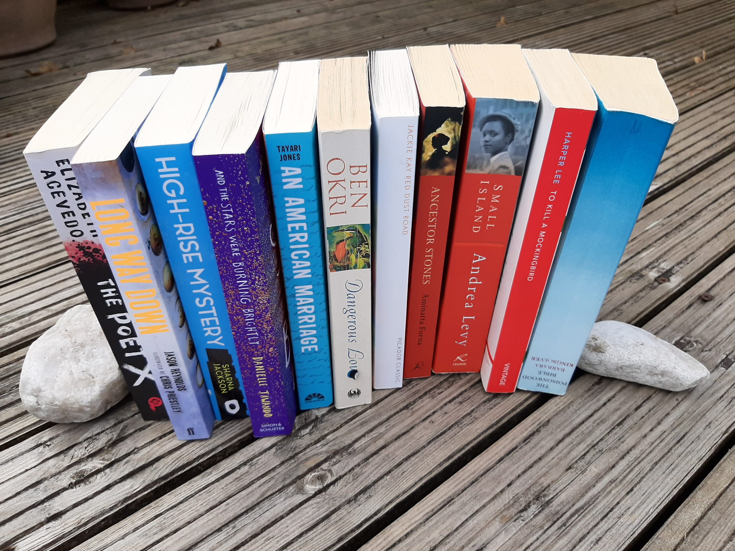 books about black lives lined up on garden deck